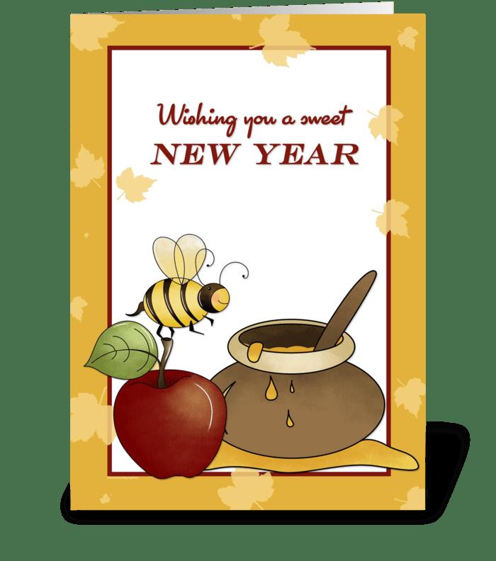 rosh hashanah apple bee and honey greeting card