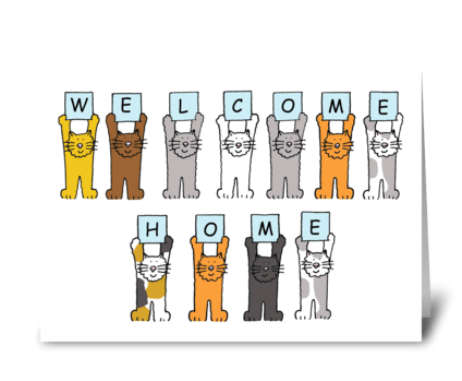 Welcome home cartoon cats. greeting card