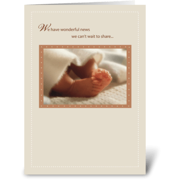 2814 Pregnancy Announcement Baby Feet greeting card
