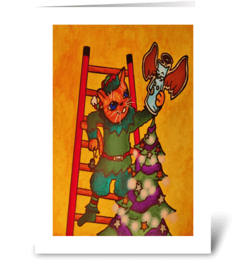 Christmas Elf Cat greeting card