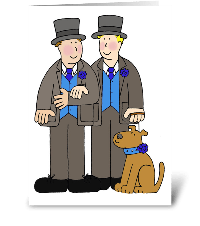 Civil Union Congratulations for 2 grooms greeting card
