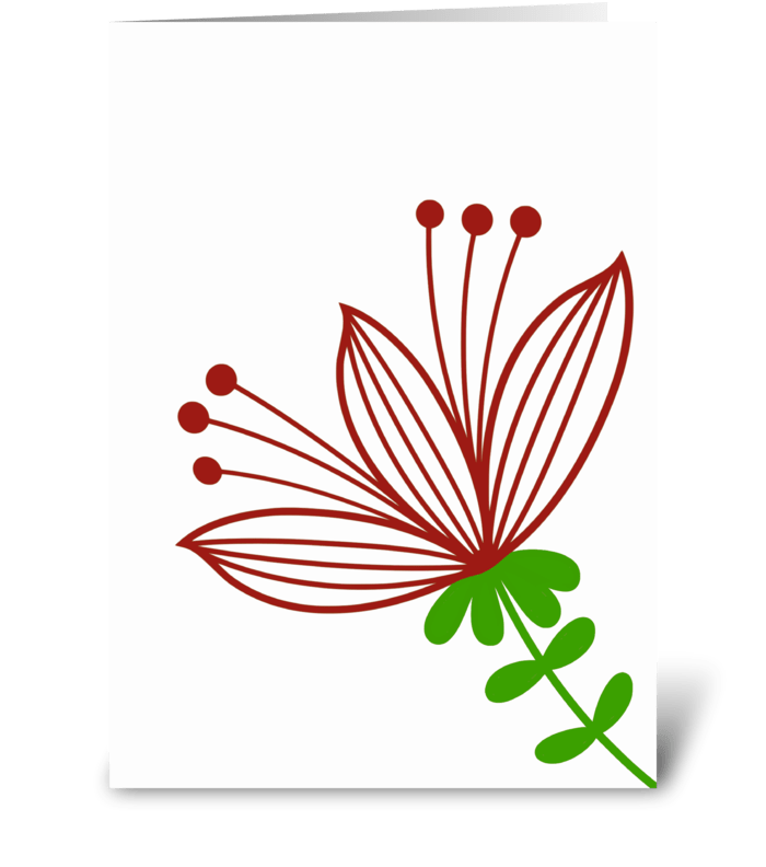 Red and White Minimalist Flower greeting card
