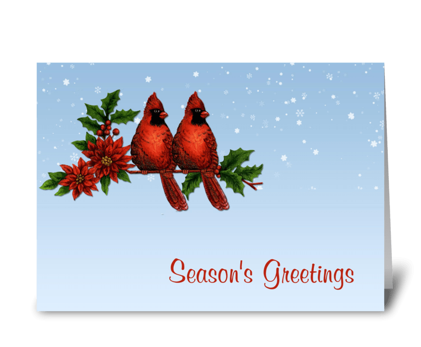 Red Cardinals Season's Greetings greeting card