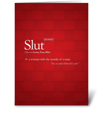Slut! greeting card