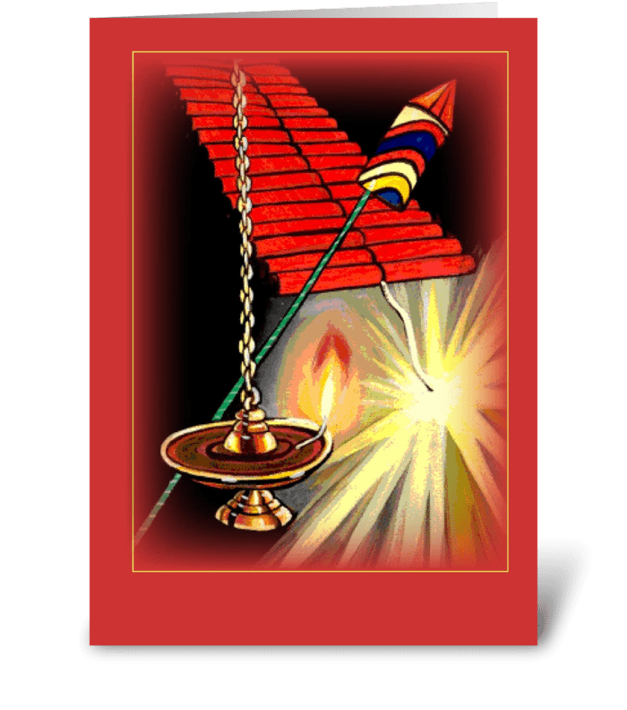 Diwali Fireworks greeting card