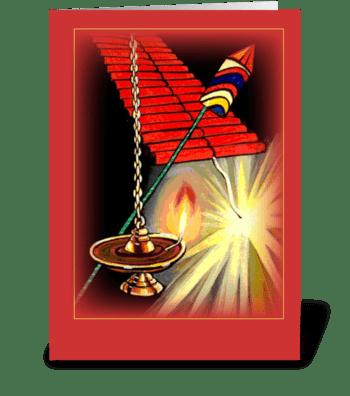 Diwali Fireworks greeting card