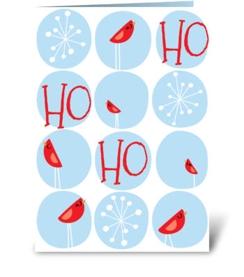 Winter Wonderland Red and Blue greeting card