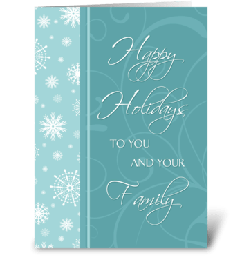 Happy Holidays Snowflakes and Swirls greeting card