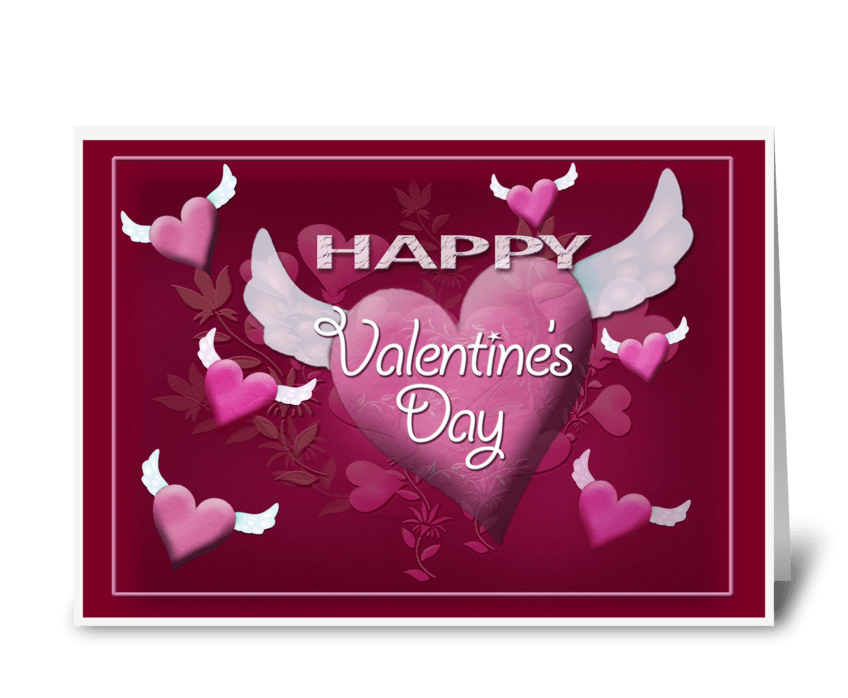 Flying Hearts, Valentine Greeting greeting card