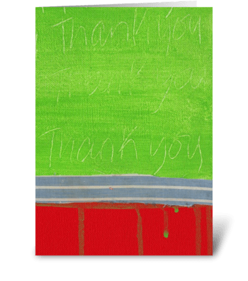 Thank You Painting - Green on Red greeting card