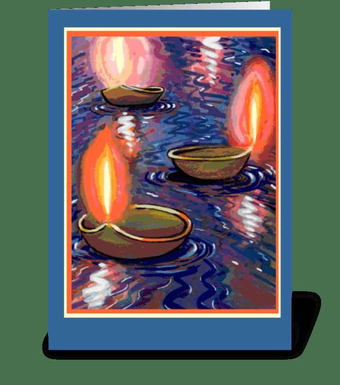 Diwali Floating Candles greeting card