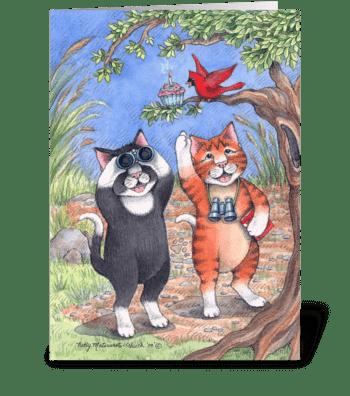 Cats Bird Watching Birthday#70 greeting card
