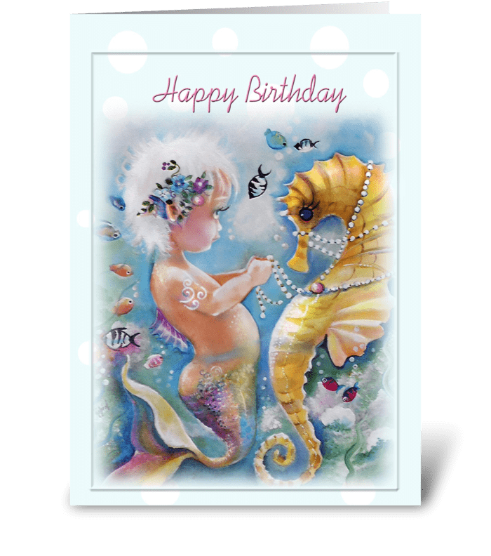 Sweet Mermaid and Seahorse, Birthday greeting card