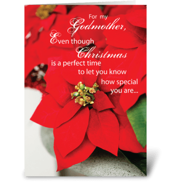 Godmother Christmas Poinsettia greeting card