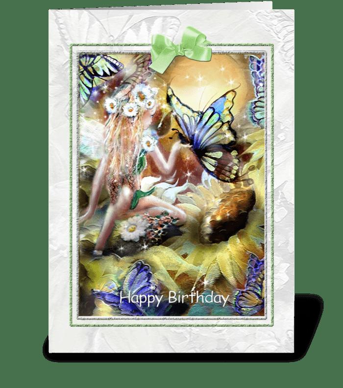Garden Fairy & Butterflies Birthday Card greeting card