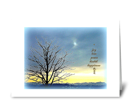 Joy Love Peace Health Happiness greeting card