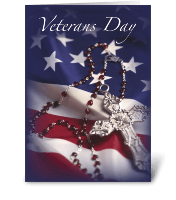 Veterans Day Cross and Flag greeting card