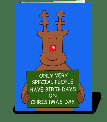 Happy Christmas Day Birthday Humor. greeting card