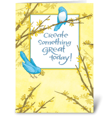 Blue Birds Forsythia greeting card