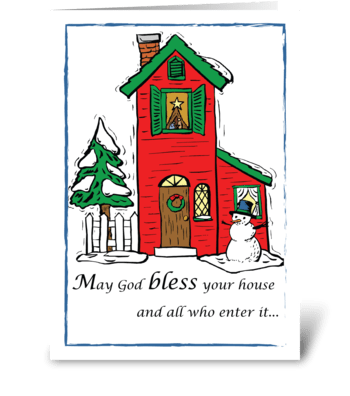 God Bless House Christmas greeting card