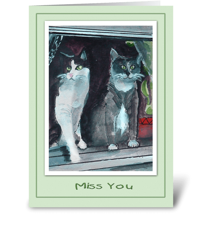 Two Cats, Miss You greeting card