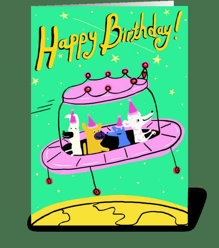 Pink Space Ship Birthday greeting card