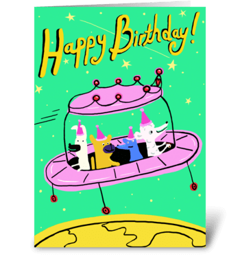 Pink Space Ship Birthday greeting card