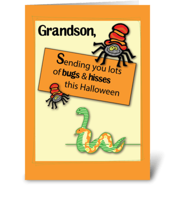 Grandson Bugs and Hisses Halloween greeting card