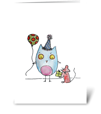 Happy Birthday Owl! Love, Mouse greeting card