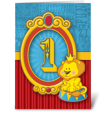 Corbin's Circus 1st Birthday greeting card