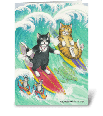 Surfing Cats Birthday #38 greeting card