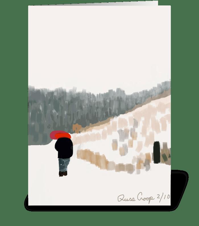 Red Umbrella Man greeting card