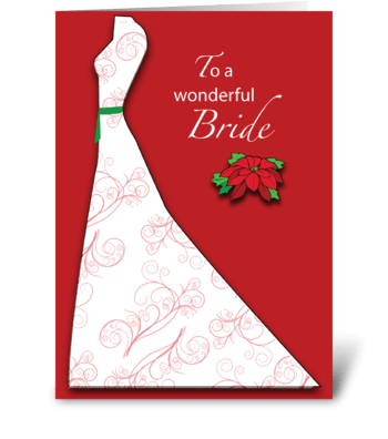 Bride Bridal Shower Silhouette Christmas greeting card