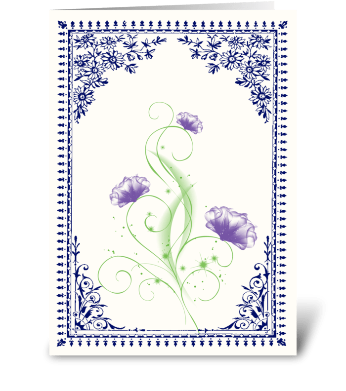 Vintage Purple Flower 2 with Blue Border greeting card