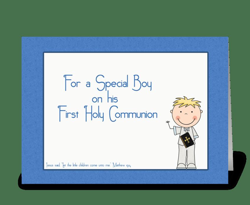 Holy Communion, Boy, Blue  greeting card