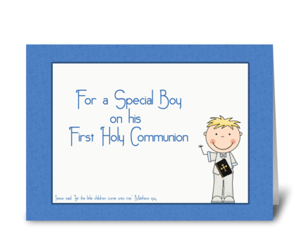 Holy Communion, Boy, Blue  greeting card