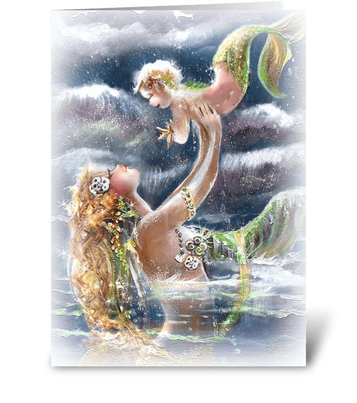Play time in the Sea greeting card