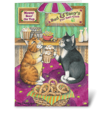 Beer Cheer Cats Birthday #35 greeting card