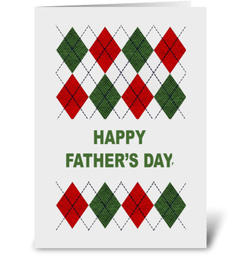 Farther's Day With Argyle Pattern greeting card