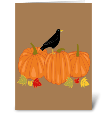 Crow and Pumpkins greeting card