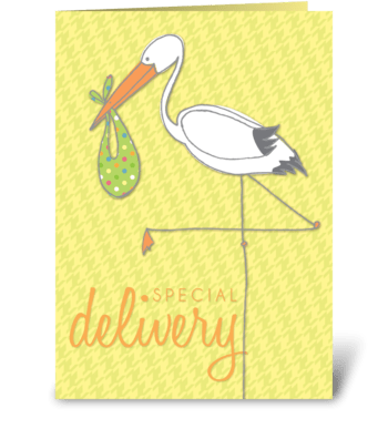 Special Delivery Stork greeting card