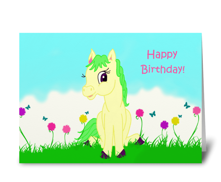 Pretty Pony Birthday Card greeting card