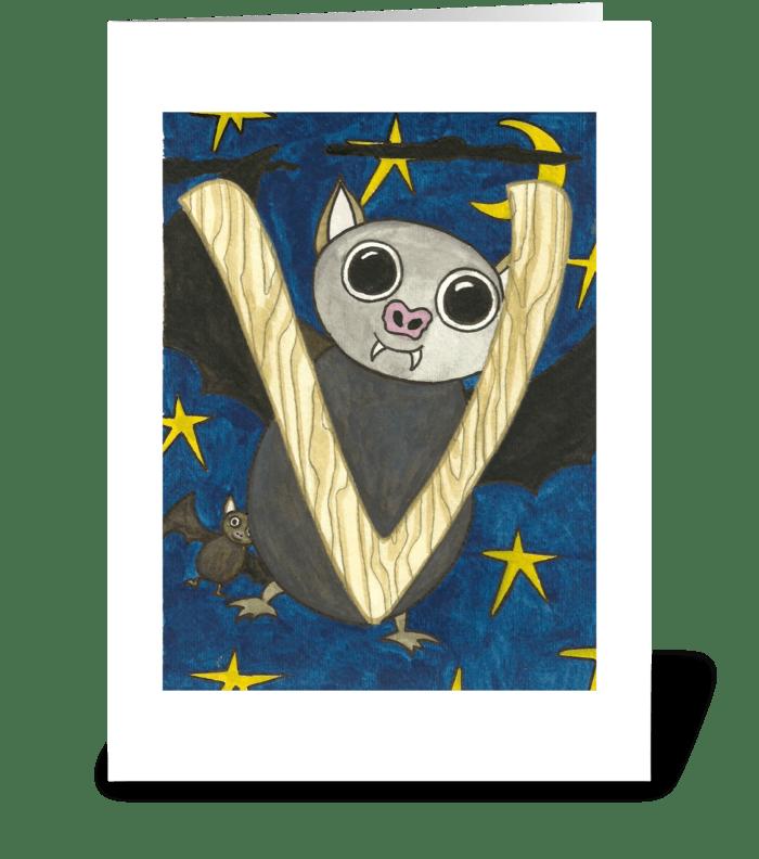 V for Vampire Bat greeting card