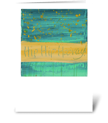 Hip Hip Hooray! - Yellow on Green greeting card