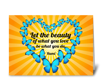 Rumi Poem with Butterflies and Sunlight greeting card