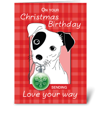 Birthday on Christmas Jack Russell Terri greeting card