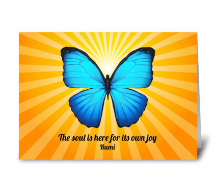 Rumi Soul Poem with Butterfly greeting card
