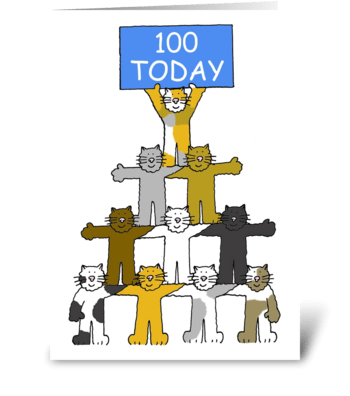 100th Birthday cute, fun cats. greeting card