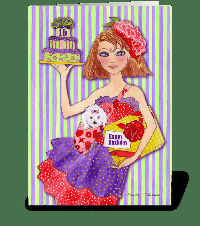 Happy birthday sweet sixteen send this greeting card designed by happy birthday sweet sixteen greeting card m4hsunfo