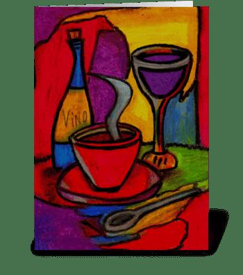 dinner & wine greeting card
